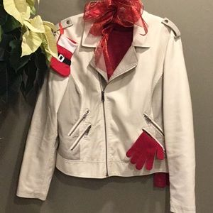 XL Cream Faux Leather Jacket